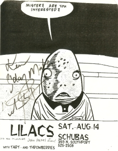 Flyer from 1993 advertising the playwright Laura Eason's band Tart opening for the author's band The Lilacs at Schubas, which bears at least a passing resemblance to the fictional Hank's Bar in which the play is set.