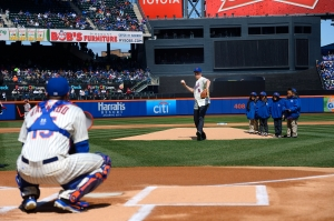 Mayor Bill de Blasio throws out the first pitch at the New York Mets opener last year. (Photo: NYC Mayor's Office)