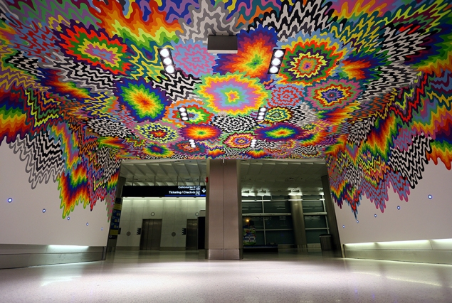 Ms. Stark's mural Meltdown can be found between Terminals D and E at Miami International Airport. (Photo: courtesy the artist, via Jenstark.com)