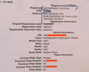 "Official legal documents for the rabbi's wife, including her voter registration and motor vehicle registration, exclusively refer to her as ""Bithya R Aschkenazi."""