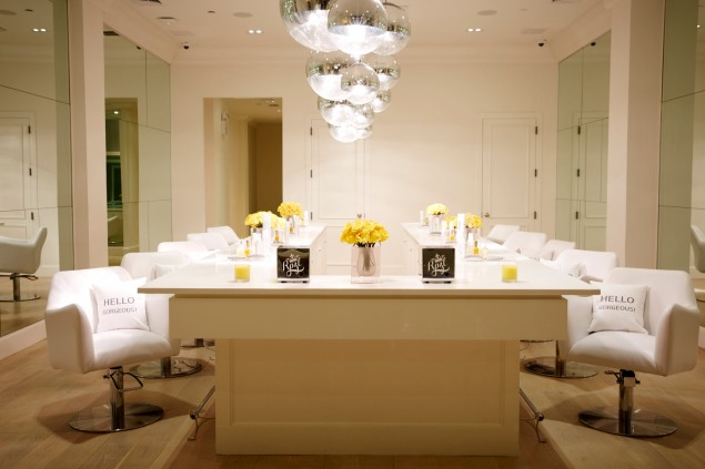 The interior of RPZL, a hair extensions salon.