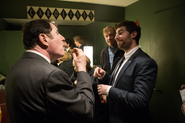 Scott Rogowski with Richard Kind and Brian Stack in the green room at Caroline's. (Arman Dzidzovic/New York Observer).