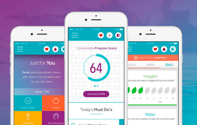 The app collects users' health data and recommends various lifestyle changes. (Photo: Conceivable)