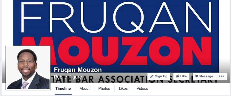 Of late, candidates for bar offices have taken to creating professional campaign materials, like this Facebook page for Mouzon. Direct mail and videos have even been deployed.