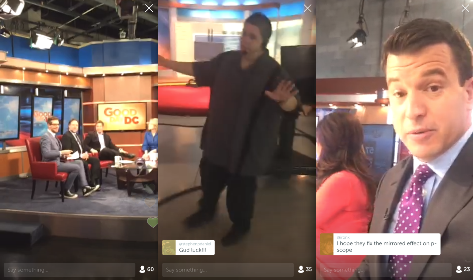 Local TV Periscope feeds are all basically the same, and get boring faster than actual local TV news. (Screengrabs: Jack Smith IV)