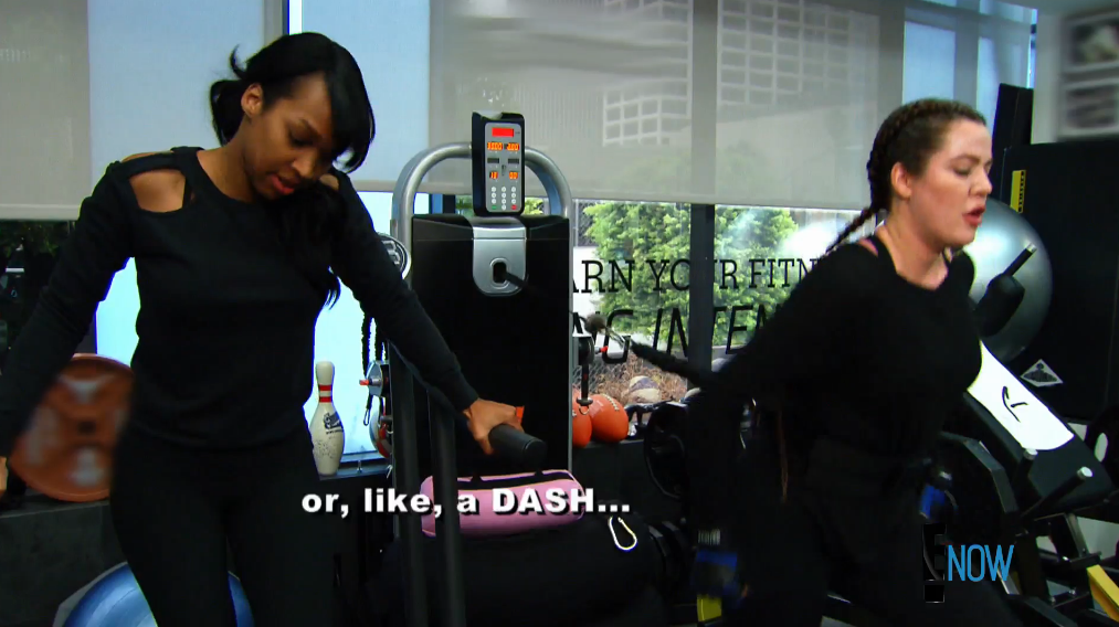 Khloé knows her way around a... whatever that machine is (Screengrab: E! Online).