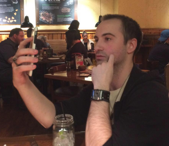 "The first time my rude ass ever Periscoped. It was dinner at Outback Steakhouse. (Photo:  Jeanette ""Caj"" Fabre)"