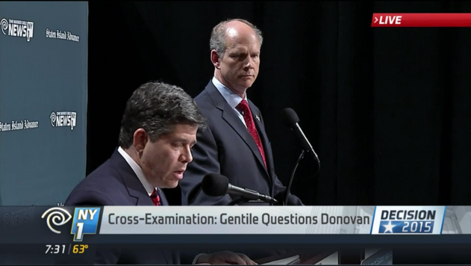 Councilman Vincent Gentile and District Attorney Daniel Donovan debate in Staten Island. (Screenshot: NY1)
