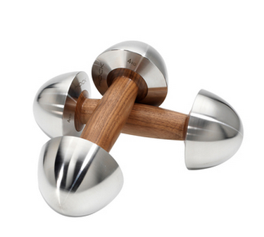 These dumbbells are made from walnut and stainless steel. (Photo: crestandco.com)