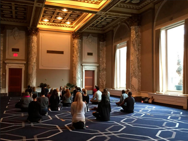 A meditation session in the W Hotel's Great Room. (Photo: the W Hotel)