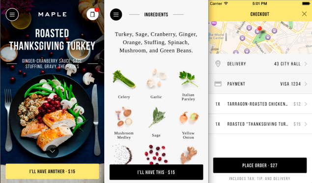 Helpful for those with dietary restrictions, Maple's app clearly lists the ingredients in every dish. (Photo: Maple)
