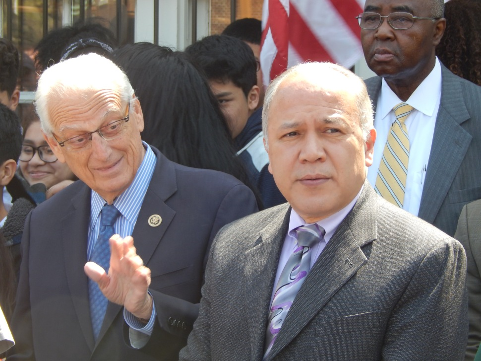 "Paterson Mayor Jose ""joey' Torres, right, this morning at the Great Falls with U.S. Rep. Bill Pascrell (D-9)."