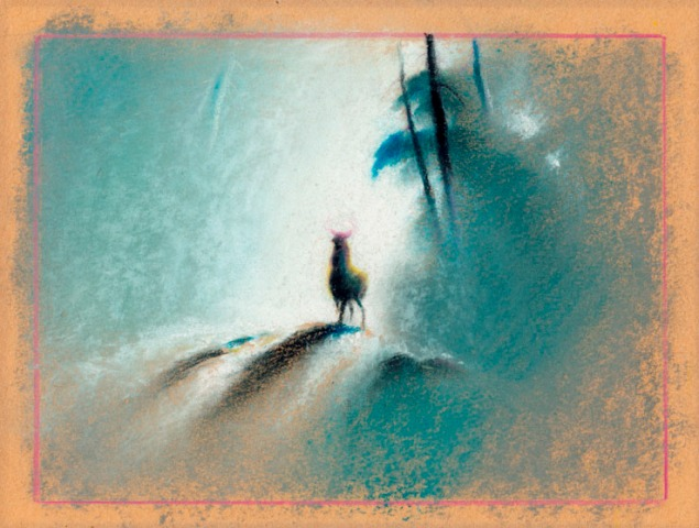 One of the iconic paintings of Bambi in the forest that helped Tyrus Wong's work become the basis for the art in the film (Courtesy of Ron and Diane Miller)