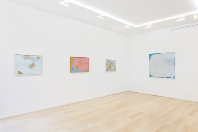 "From left, Joe Goode's Torn Cloud ""Vandalized,"" 1973; Untitled (GO #4), 1973; Torn Cloud Painting 2A, 1975; and Torn Cloud Painting. 33, 1971. Photo: Courtesy of Joe Goode & Van Doren Waxter"