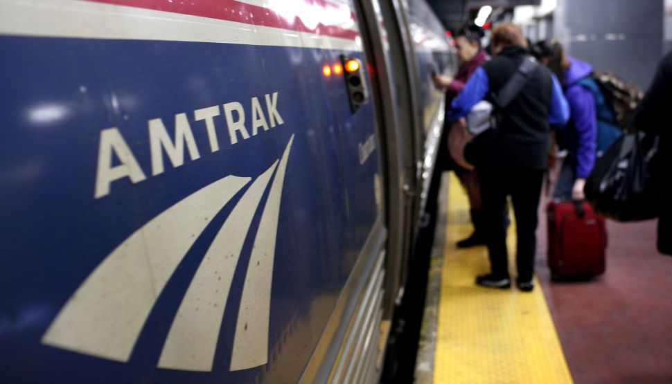 An Amtrak train at Penn Station.