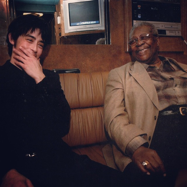 The author, Jackie Greene, with B.B. King, who died yesterday at 89.