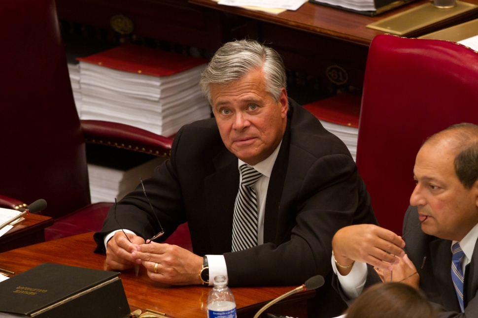 New York Senate Majority Leader Sen. Dean Skelos (R-District 9) (C) talks with colleagues in the Senate chamber on June 16, 2011 in Albany, New York.  (Photo: Matthew Cavanaugh/Getty Images)