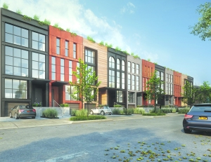 A rendering of SANBA's King and Sullivan townhouse project.  Courtesy of AA Studio