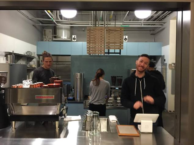 Customers at Blue Bottle Coffee are greeted by smiling cashiers and a Square machine that asks you to tip them. (Facebook)