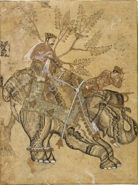 An ink and gold watercolor on paper depicting two riders atop stalling elephants, mid-17th century. The object was given by collector Bert Schaffner. (Photo: Brooklyn Museum)