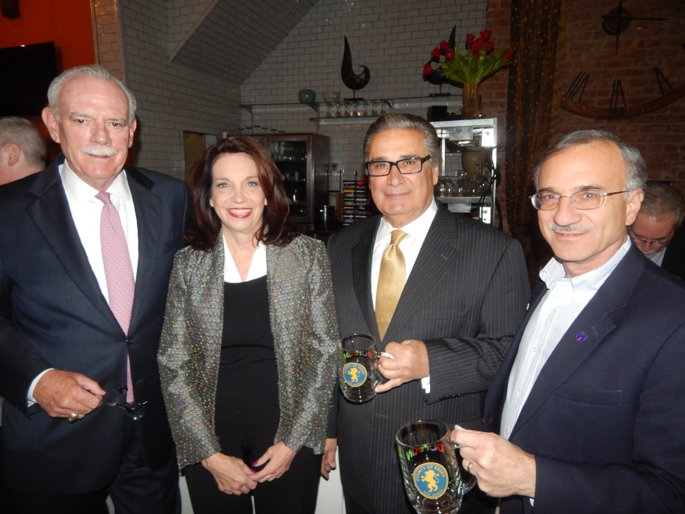 At Chris Durkin's Bash: From left, Tom Barrett, Bloomfield Clerk Louise Palagano, Joe Parlavecchio, and Montclair Deputy Mayor Robert Russo.