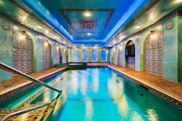 A subterranean pool and sauna more closely resembles a Turkish bath.
