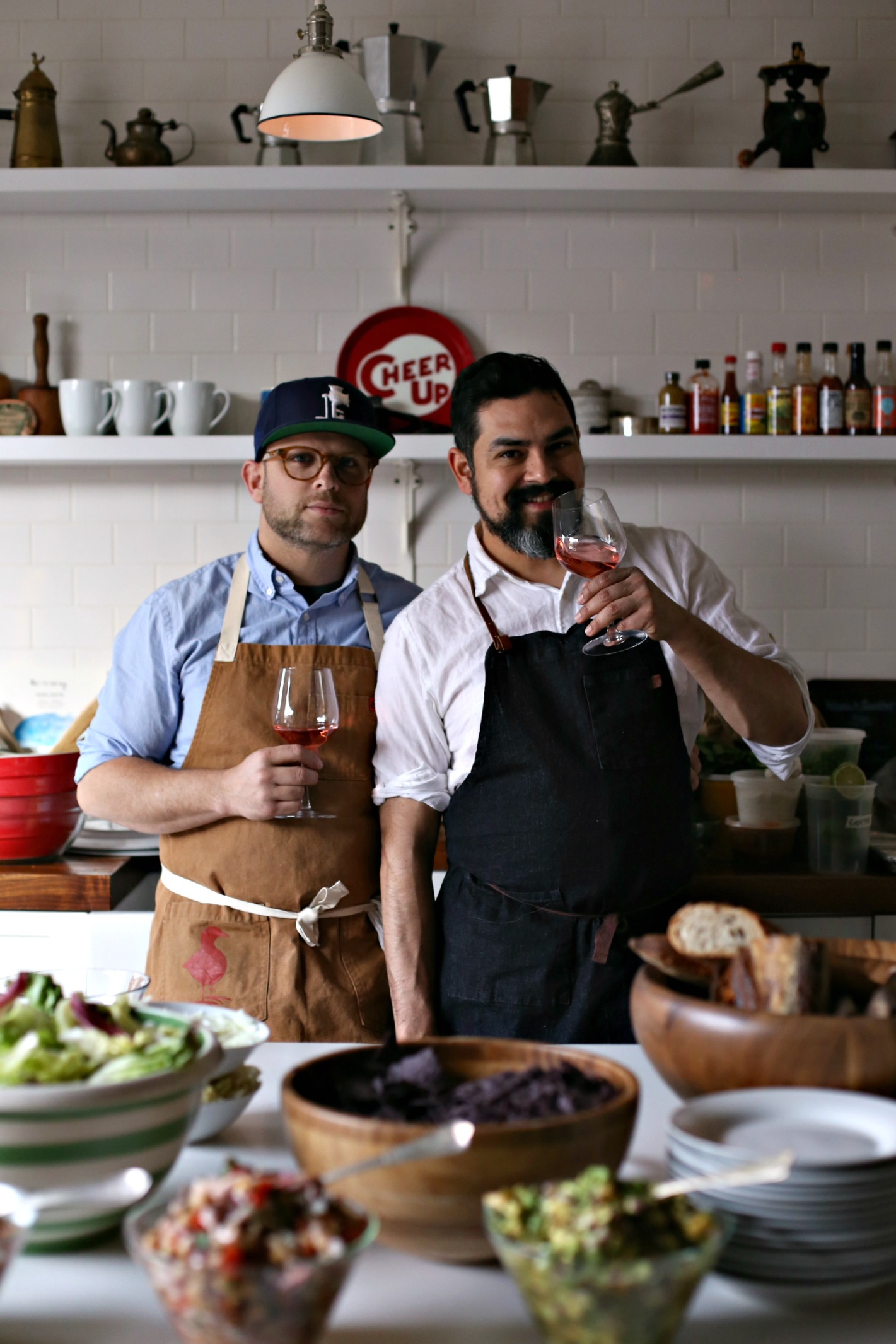 The Meatball Shop's Chef Daniel Holzman (left) and Chef Daniel Sharp cooking up a storm. (Photo: Courtesy Folk Rebellion).