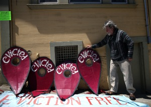 A tenant protest in San Francisco. (Photo by Justin Sullivan/Getty Images)