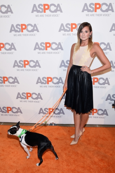 NEW YORK, NY - OCTOBER 16:  Blogger Danielle Bernstein poses with Chowda at ASPCA Young Friends Benefit at IAC Building on October 16, 2014 in New York City.  (Photo: Jamie McCarthy/Getty Images for ASPCA)