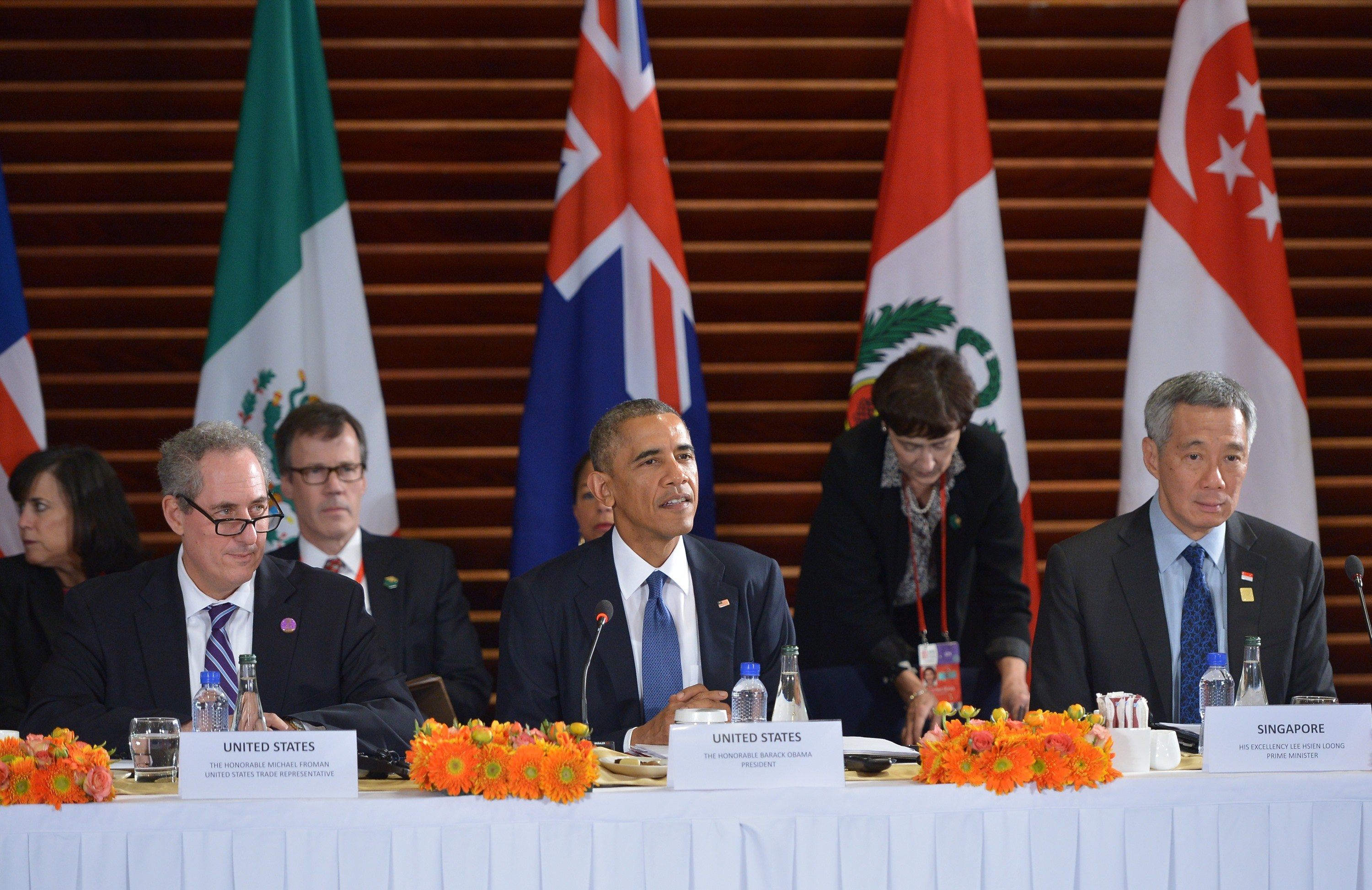 US President Barack Obama speaks during a meeting with leaders from the Trans-Pacific Partnership at the US Embassy in Beijing on November 10, 2014.(MANDEL NGAN/AFP/Getty Images)