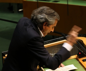 French philosopher and writer Bernard-Henri Levy speaks to the United Nations General Assembly at a meeting devoted to anti-Semitism on January 22, 2015 in New York City. (Photo: Spencer Platt/Getty Images)