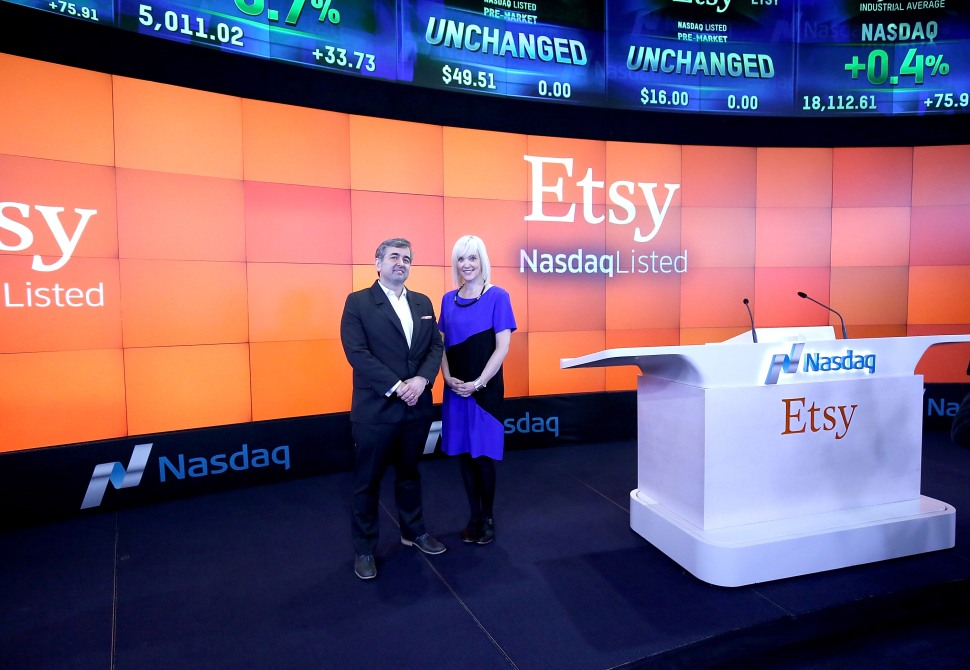 NEW YORK, NY - APRIL 16:  Chad Dickerson, Chairman and CEO of Etsy and Kristina Salen, Etsy's CFO ring the Nasdaq Opening Bell in Celebration of IPO at Nasdaq on April 16, 2015 in New York City.  (Photo by Paul Zimmerman/Getty Images for NASDAQ)