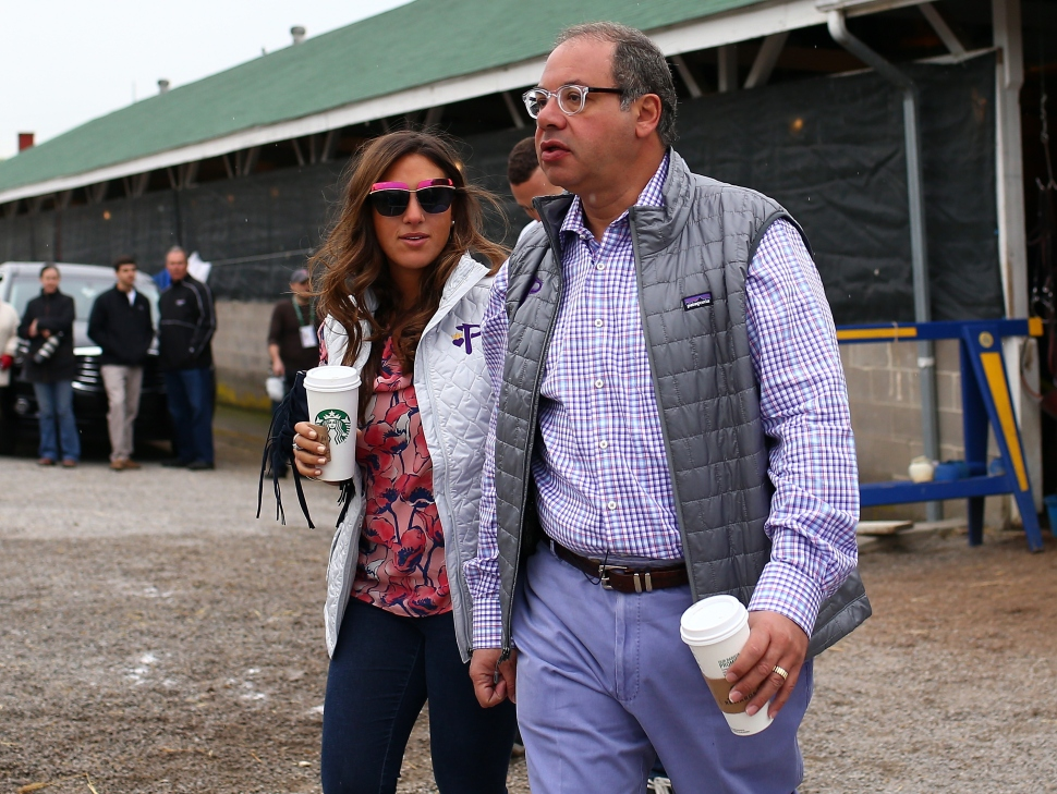 Ahmed Zayat, owner of American Pharoah, Mr Z. and El Kabeir, walks around the stable after morning workouts for the Kentucky Derby at Churchill Downs on April 30, 2015 in Louisville, Kentucky.  (Elsa/Getty Images)