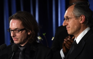 Gerard Biard (R), editor-in-chief of the Paris-based satirical weekly Charlie Hebdo, and critic Jean-Baptiste Thoret (L). (TIMOTHY A. CLARY/AFP/Getty Images)