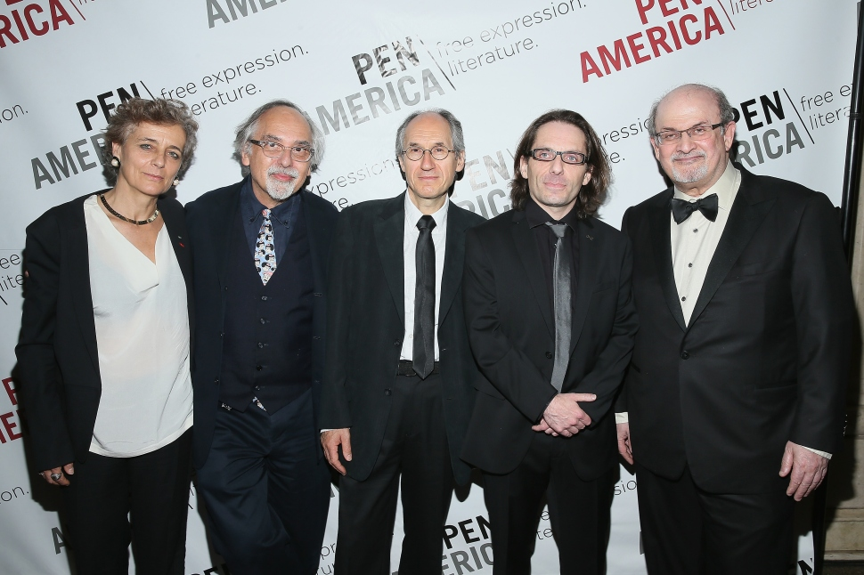 Françoise Mouly, Art Spiegelman,  Charlie Hebdo editor-in-chief Gerard Biard, The New Yorker Cartoon Editor Bob Mankoff, Charlie Hebdo film critic Jean-Baptiste Thoret and Salman Rushdie attend the PEN American Center Literary Gala at American Museum of Natural History on May 5, 2015 in New York City.  (Jemal Countess/Getty Images)