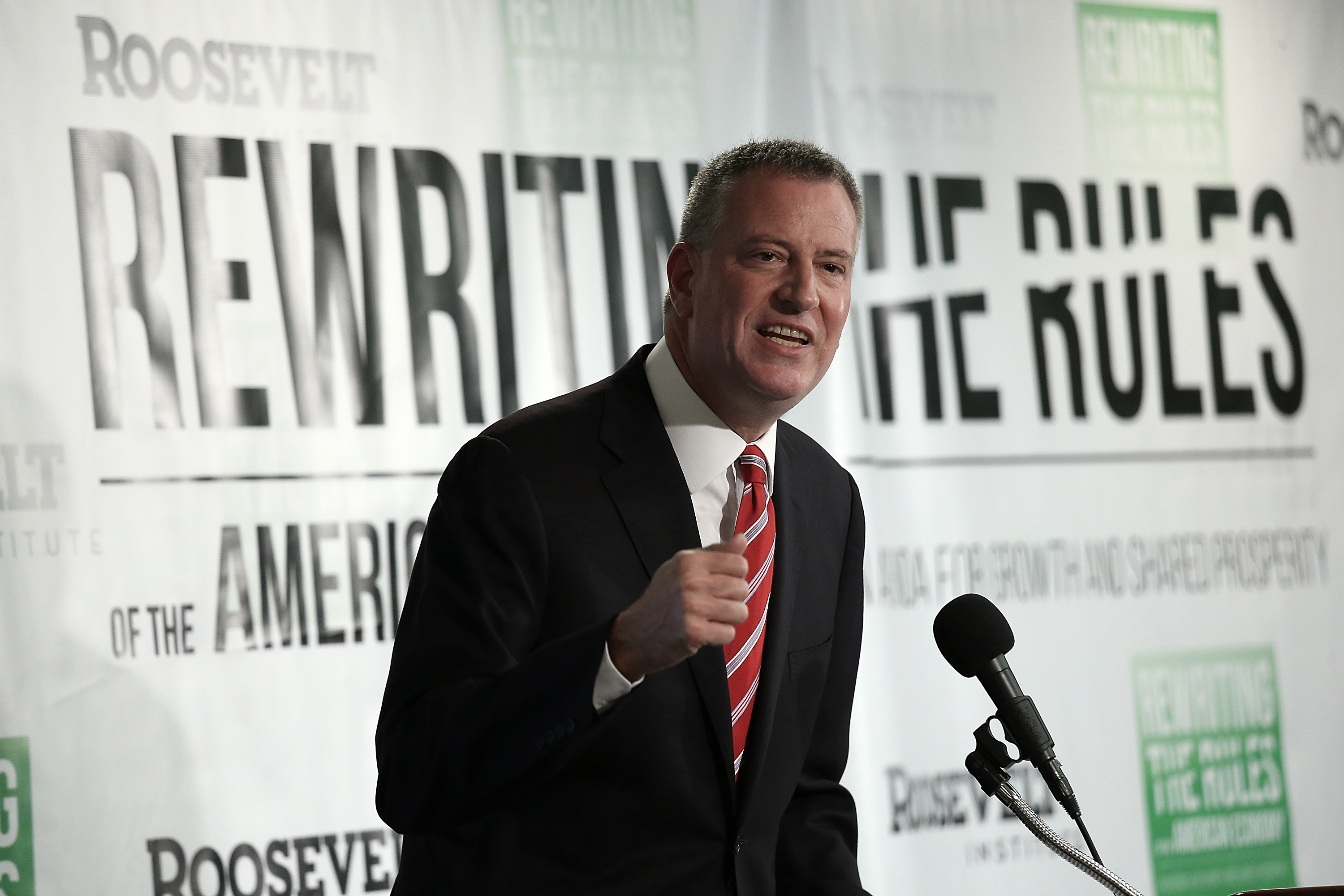 New York City Mayor Bill de Blasio speaks about the release of a new report authored by Nobel-prize winning economist Joseph Stiglitz published by the Roosevelt Institute. (Win McNamee/Getty Images)
