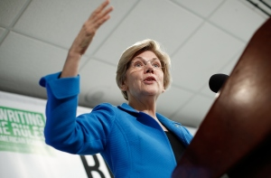 Sen. Elizabeth Warren speaks today at the Roosevelt Institute event.  (Photo by Win McNamee/Getty Images)