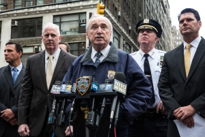 New York Police Department Commissioner Bill Bratton speaks at a press briefing after a hammer-wielding attacker assaulted a police officer on May 13, 2015 in New York City. The attacker was shot twice by a police officer and is currently in the hospital undergoing medical treatment. (Photo: Andrew Burton/Getty Images)