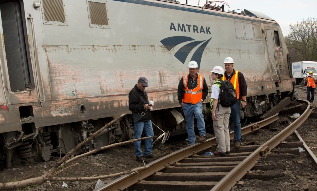 An Amtrak trained derailed outside Philadelphia last week, killing eight. (Photo by NTSBgov via Getty Images)