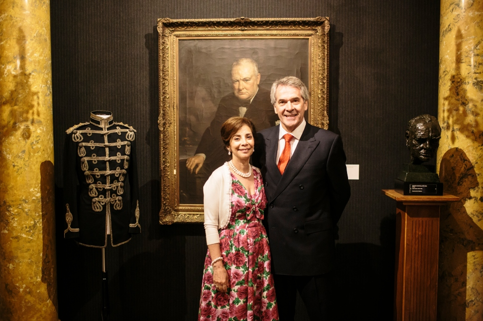 WASHINGTON, DC - MAY 14: British Ambassador to the US Sir Peter Westmacott (R) and wife Susie (L) host Savile Row Bespoke and America at the British Ambassador's Residence on May 14, 2015 in Washington, DC.  (Photo by Greg Kahn/Getty Images for The British Embassy)