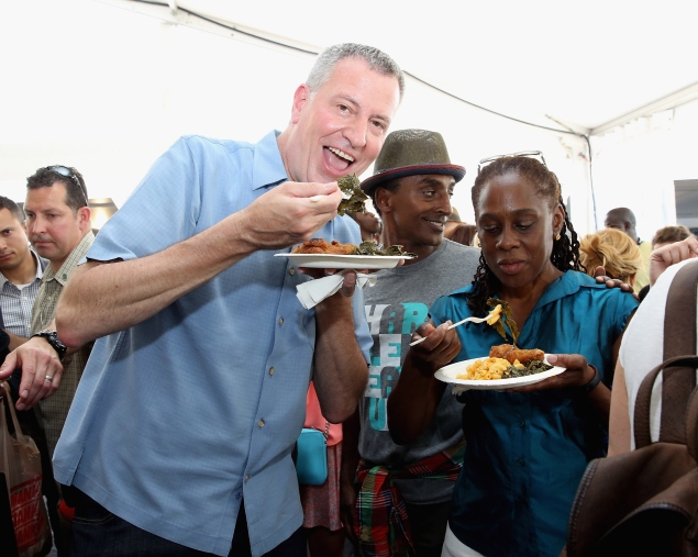 Mayor Bill de Blasio at the Harlem EatUp! Festival yesterday. (Photo: Marchant/Getty Images for Harlem EatUp!)