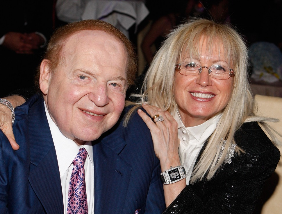 """LAS VEGAS - MAY 03:  Chairman of Las Vegas Sands Corp., Sheldon Adelson, with his wife Dr. Miriam Adelson attend the opening night celebration of the musical """"Jersey Boys"""" at the Venetian May 3, 2008 in Las Vegas, Nevada.  (Photo by Isaac Brekken/Getty Images)"""