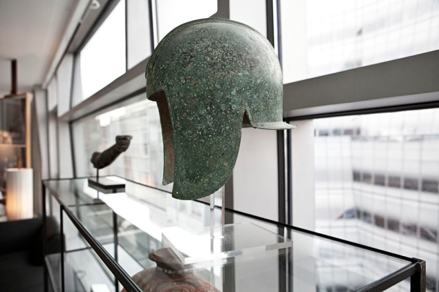 An ancient helmet, one of Ms. Champalimaud's collected pieces. (Photo: Celeste Sloman/New York Observer)