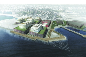A bird's-eye rendering of Es4tate Four's proposed Red Hook Innovation District. PHOTO CREDIT: Courtesy NBBJ