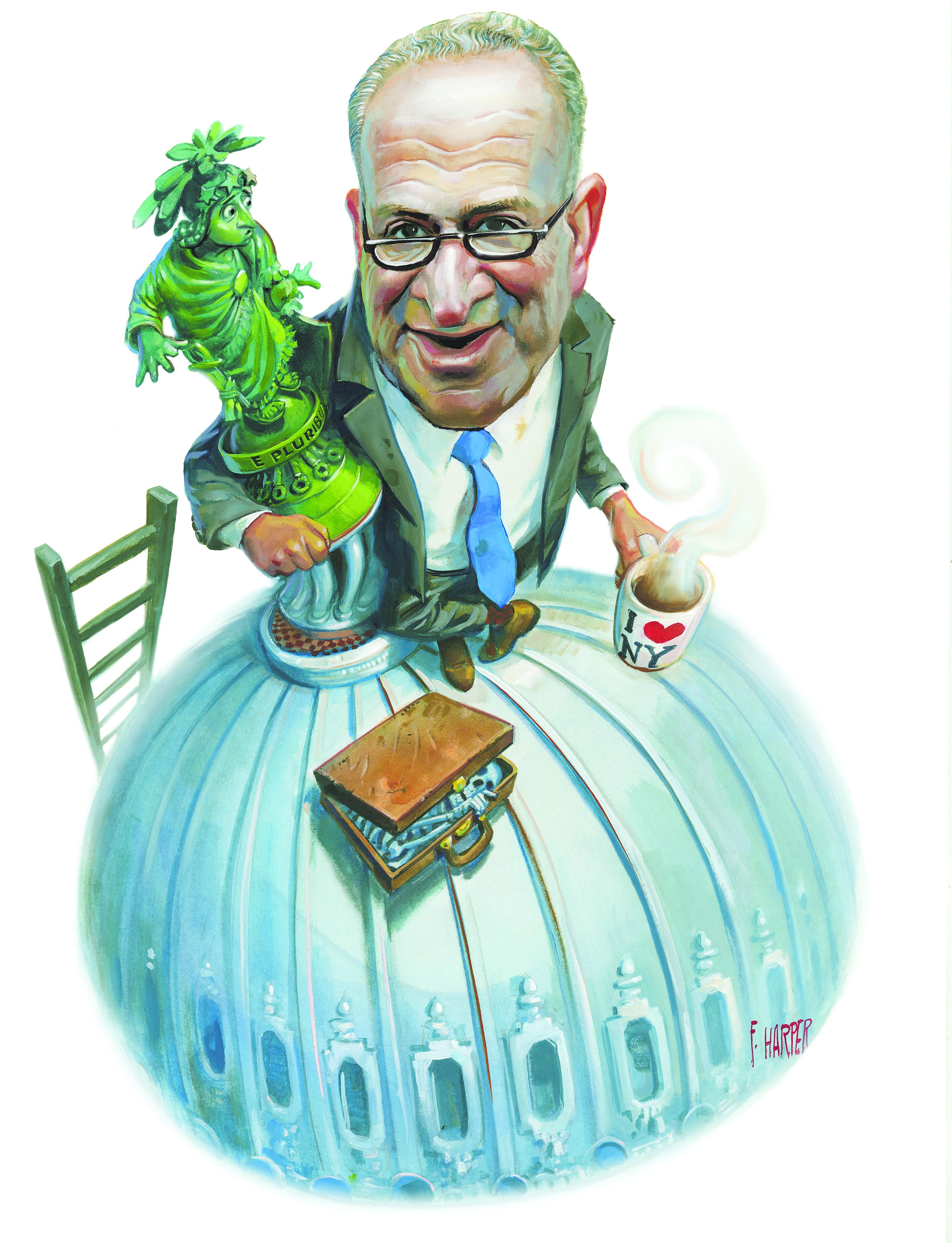 Sen. Charles Schumer. (Illustration: Fred Harper/New York Observer