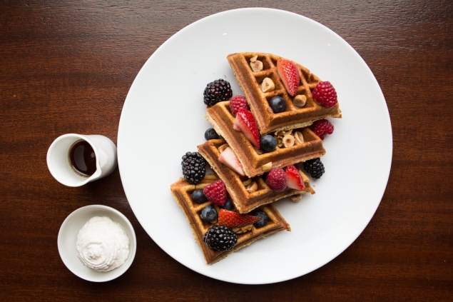 Hazelnut waffles with berries and cream served at The Clock Tower Restaurant in the New York EDITION hotel in the Flatiron District. (Photo: Arman Dzidzovic/New York Observer)
