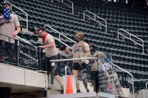 Athletes run up the Citi Field steps during the Reebok Spartan Sprint. (Aaron Matthews)