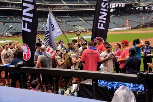 Family members wait at the finish line of the Reebok Spartan Sprint. (Aaron Matthews)