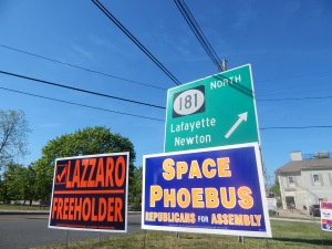 Campaign signs dot the roadside in Sparta, NJ.