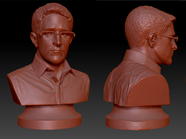 3D model of Edward Snowden busts, by anonymous artists (Photo: Thingiverse).